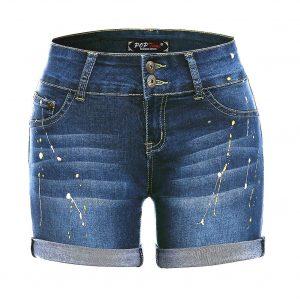 POPTIME Women's Mid Waist Elastic Denim Short Jeans