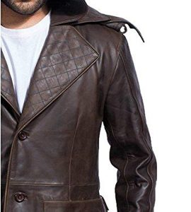 HF Outlets Real Leather Jacket Brown Long Hooded Trench Coat