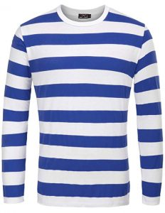 PAUL JONES Men's Basic Striped T-Shirt Crew Neck Cotton Shirt