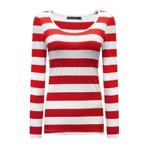 OThread & Co. Women's Long Sleeve Striped T-Shirt Basic Scoop Neck Shirts
